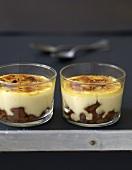 Individual Speculos gingerbread biscuit Catalan cream desserts