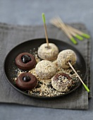 Cherry and chocolate truffles coated in crushed rich tea biscuits