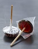 Peppered strawberry lollipops