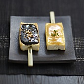 Tofu Yakitoris with white and black miso sauce