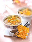 Cream of split pea soup with Edam crisps