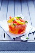 Citrus fruit salad with mint infusion