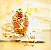 Gingerbread,foie gras and fig Christmas Verrine