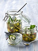 Jars of zucchinis and mozzarella marinated in oil with spring onions and mint