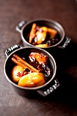 Stewed apples, prunes and raisins with honey and cinnamon