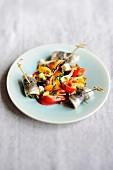 Grilled vegetable salad with sardines