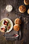 Granola scones with rasberry jam and cream