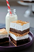 Chocolate,coconut and meringue squares