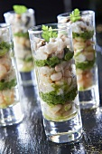 Oyster,crab and Brittany white haricot bean Verrines with herb vinaigrette