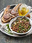 Lamb chops with honey,quinoa and flat parsley tabbouleh