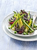 Asparagus,lettuce heart and fried red onion salad