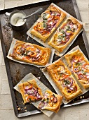 Pepper,red onion and cilantro cream tarts