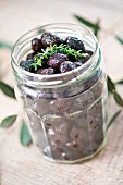 Jar of black Greek olives
