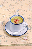 Cream of leek soup with diced ham