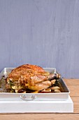 Roasted chicken with shallots and rosemary
