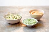 Mayonnaise in drei verschiedenen Geschmacksrichtungen