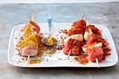 Red meat and white meat skewers in spicy marinade