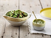 Broad bean and green asparagus tartare with grilled pine nuts and pesto sauce