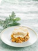 Macaroni, shrimp and vegetable Timbale