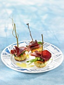 Potato and raw ham tapas croquettes