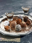 Tray of different flavored chocolate truffles