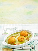 Grouper fish balls in green pepper sauce