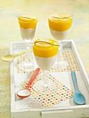 Cashew cream dessert aith mango coulis
