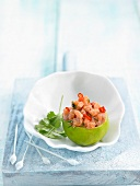 Salmon Ceviche served in a lime skin