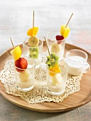 Fruit brochettes with coconut milk