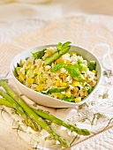 Rice with green asparagus and sweet corn