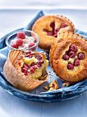 Small Brousse and raspberry cakes