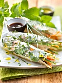 Vegetable and mint spring rolls