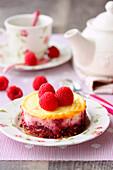 Individual fig and raspberry cheesecake