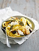 Pasta with olives, garlic and ricotta