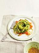 Cucumber spaghettis with salmon, seedy mustard vinaigrette