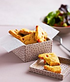 Chickpea and bell pepper square snacks