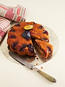 Plum and ginger upside-down cake