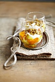 Diced pumpkin and fennel topped with crushed hazelnuts and pistachios