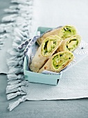 Avocado and broad bean mash wraps