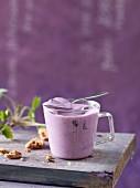 Homemade blackberry yoghurt