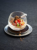 Crumble-style tuna and vegetable tartare