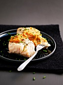 Roasted pollock with green pepper and orange
