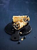 Blueberry-whipped cream pancake wrap
