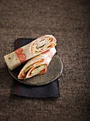 Smoked trout, tarama and cucumber wrap