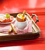 Soft-boiled egg buttered bread fingers