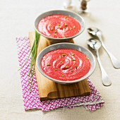 Chilled creamed beetroot soup