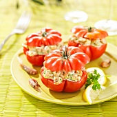 Raw tomatoes stuffed with shrimps