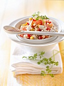Cod, grapefruit, sweetcorn and red pepper salad