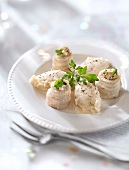 Rolled sole fillets with mushrooms and pureed celeriac