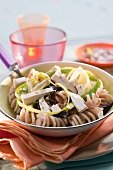 Brown pasta,feta,black olive and green pepper and leek salad